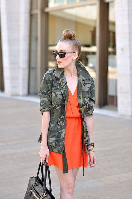 camouflage + neonStreet Style, Colors Combinations, Camo Jackets, Fashion Inspiration, Camo Orange, Camouflage Jackets, Bright Colors, Camo Coats, Camojacket