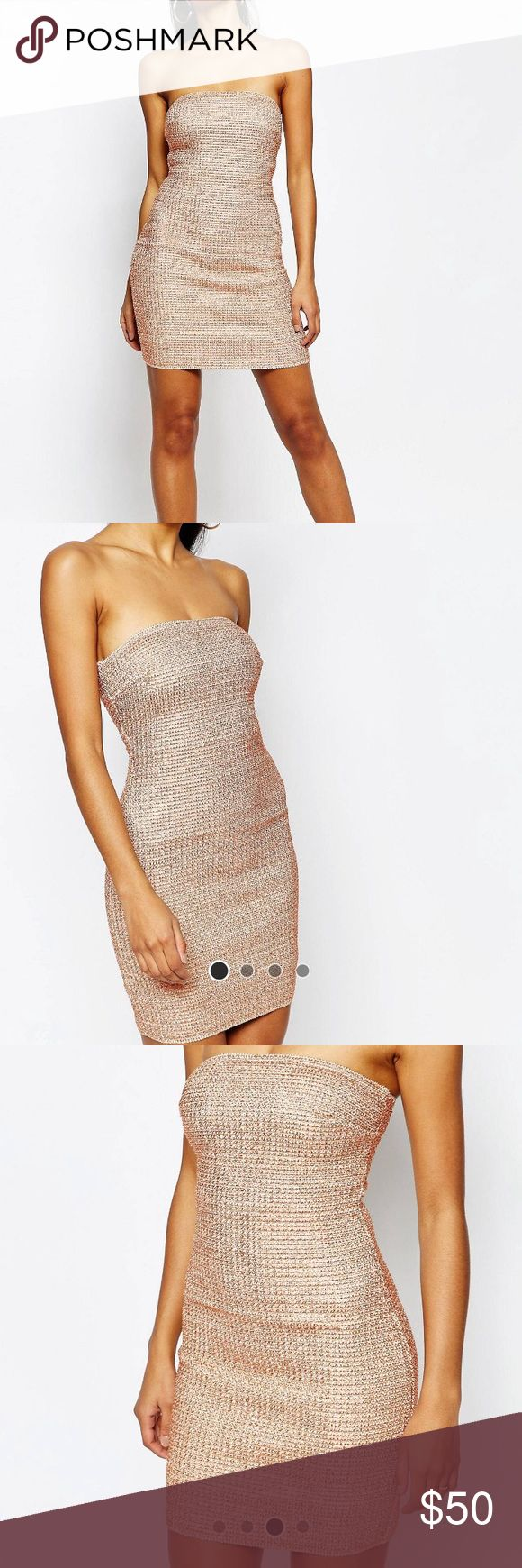 ASOS- WOW Couture Rose Gold Bandage Dress ASOS- WOW Couture Rose Gold Bandage Dress- worn once in Atlantic City stands out against typical black dresses ASOS Dresses