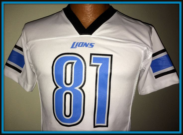 DETROIT LIONS CALVIN JOHNSON NFL TEAM APPAREL YOUTH MEDIUM WHITE REPLICA JERSEY  #TeamApparel #DetroitLions