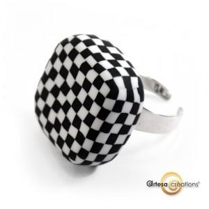 Bague Echec Damier noir & blanc Argent925  Silver Ring - black and white  http://www.artesa-creations.com/bijoux/1203-bague-noir-blanc-argent.html