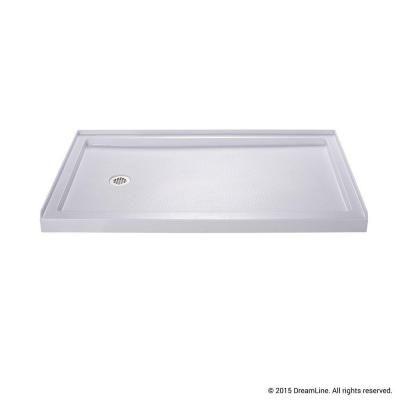 single threshold shower base in white