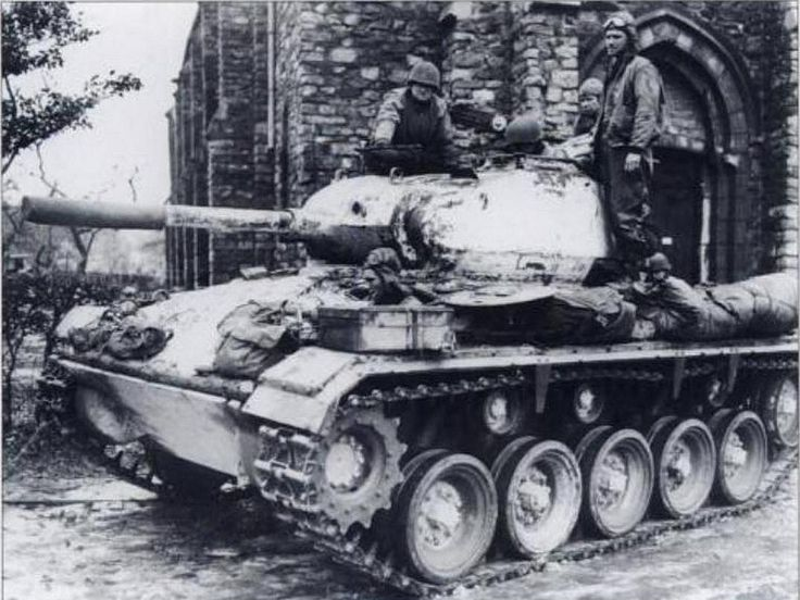 Whitewashed M24 Chaffee light tank (75mm gun) with newer type tracks and torsion bar suspension, 18th Cavalry Reconnaissance Squadron, Petit Tiers, february 1945