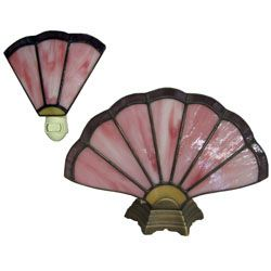Free Brass Fan Lamp and Night Light stained glass pattern