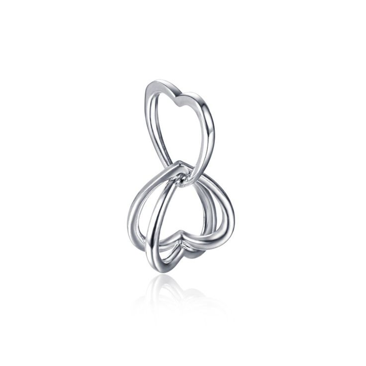 Silver Heart To Heart Charm 925 Sterling Silver Fit All Brands