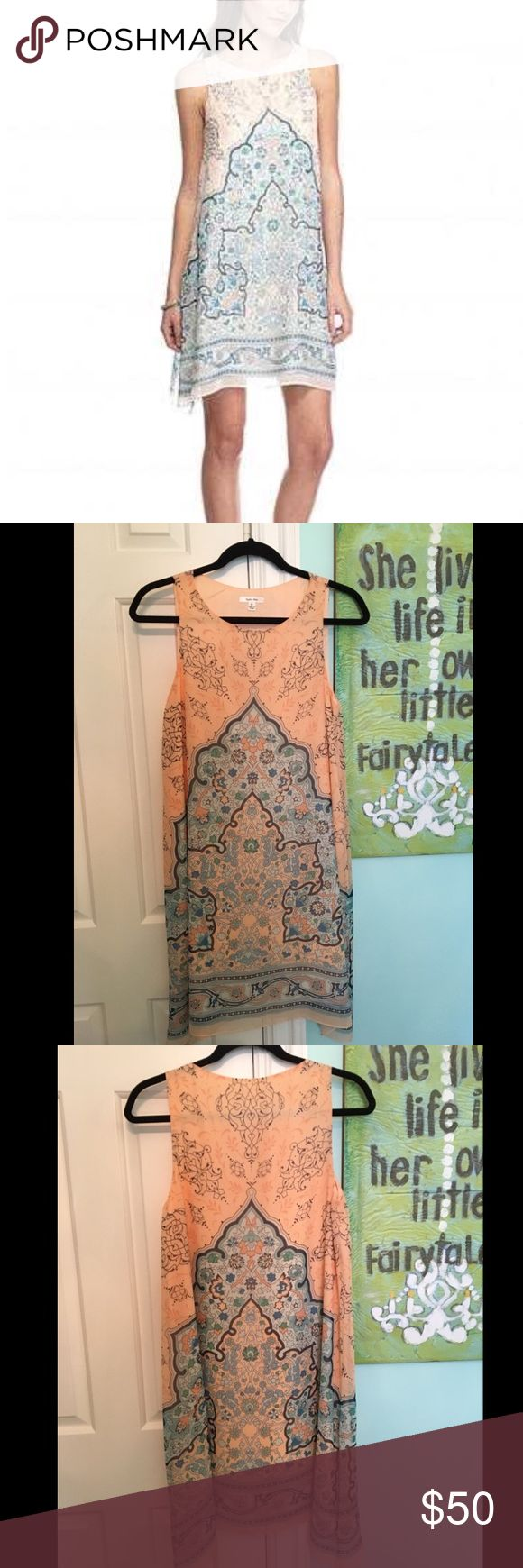 Softie Max Coral & Blue Printed Shift Dress Adorable and flowy Sofie Max shift dress! Super comfortable to wear and fully-lined! Worn once to a wedding. Smoke free home. Sofie Max Dresses Asymmetrical