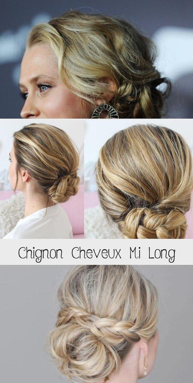 chignon cheveux mi long | Coiffure simple et facile #cheveuxmilongMeche #cheveuxmilongDegrade # ...