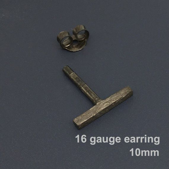 16 gauge bar stud earring, 16G stud earring, men's stud earrings, 16 gauge cartilage stud earring, black gold gauged earring, 465G 14G