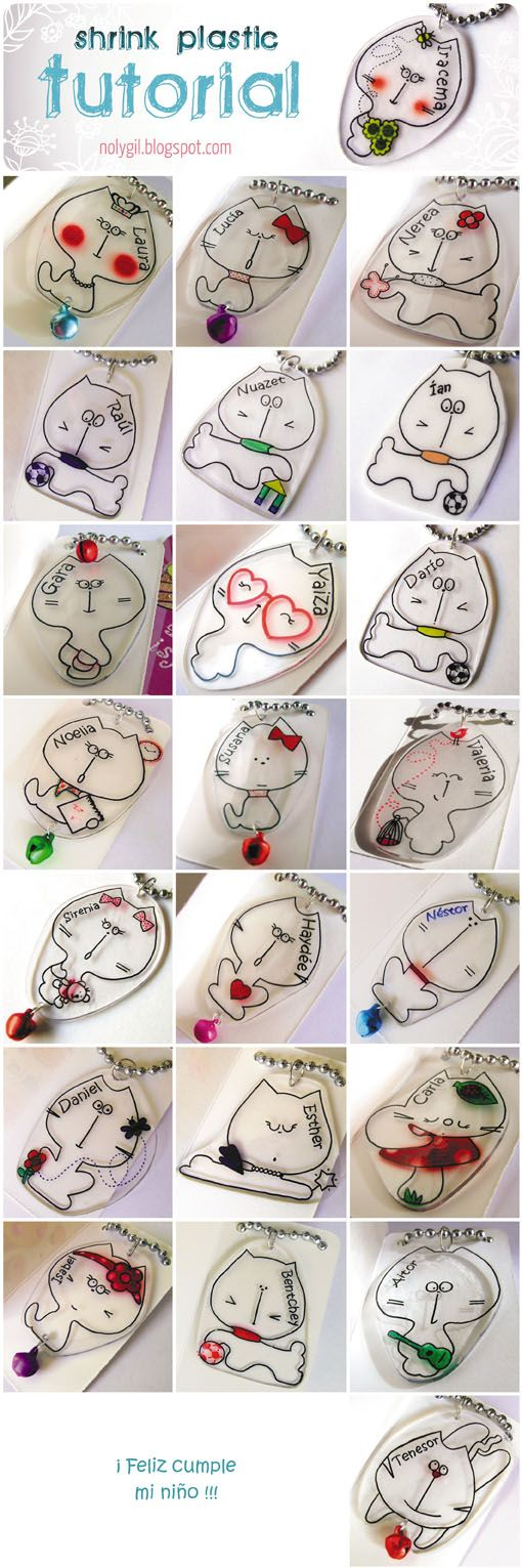 Shrink plastic key rings cats birthday for kids presents
