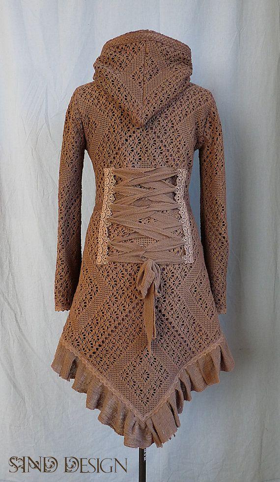 GEHAAKTE kant vest cardigan fleece haak zigeuner Steampunk Pixie Tribal