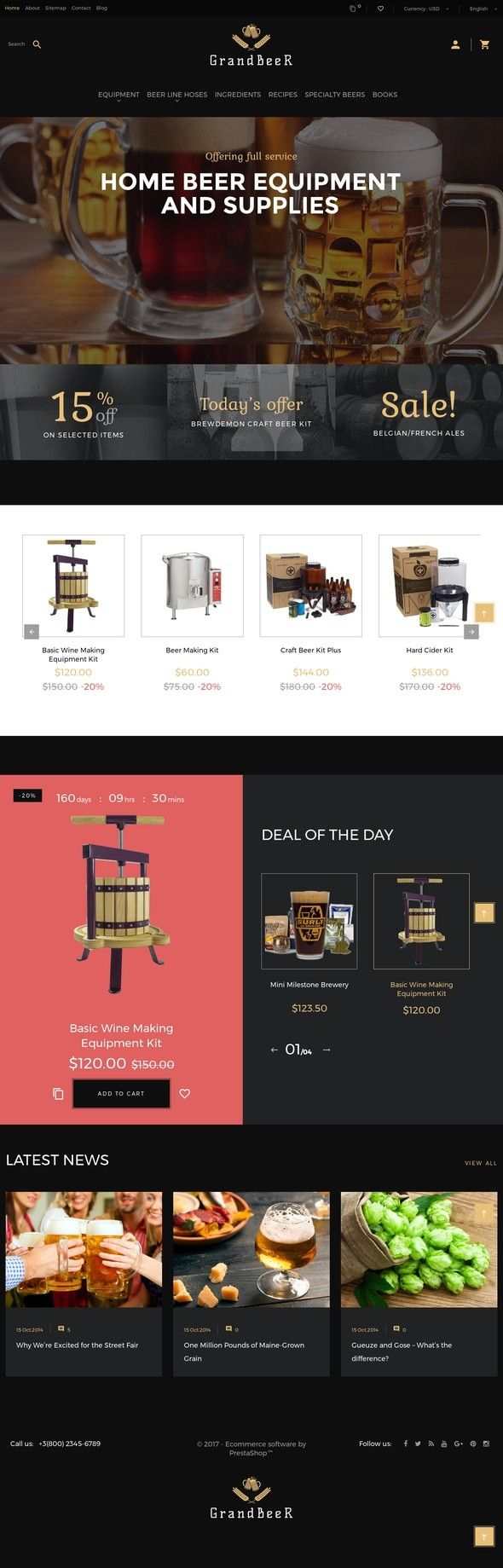 GrandBeer PrestaShop Theme E-commerce Templates, PrestaShop Themes, Food & Restaurant, Brewery Templates GrandBeer is a Brewery PrestaShop Theme constructed as an excellent solution for homebrew and brewery supplies online stores. The theme's dominating colors make the customers dream about a glass ...