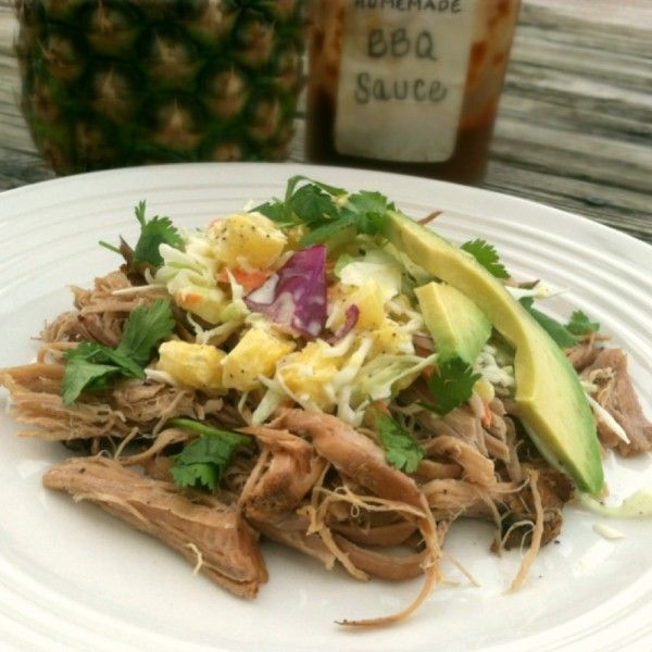 Slow Cooker Chipotle Pork with Pineapple Coleslaw - Primally Inspired