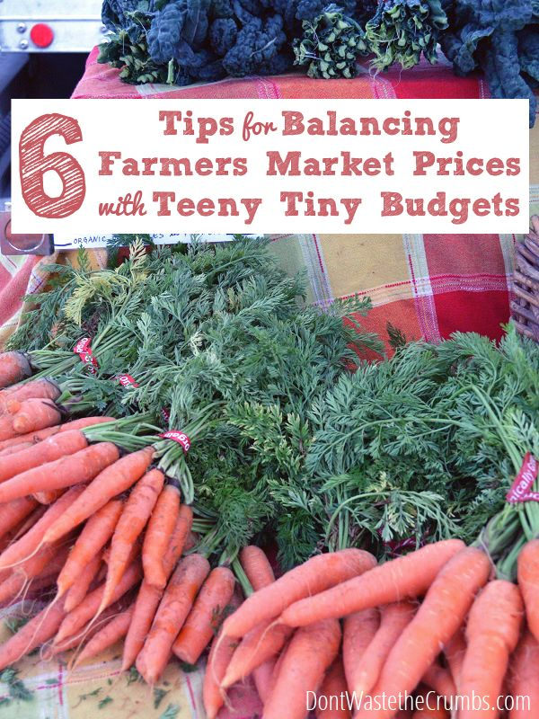 Shopping at the farmers market is a two-edged sword when you're eating real food within a budget. Here are 6 tips for balancing farmers market prices with teeny tiny budgets :: DontWastetheCrumbs.com
