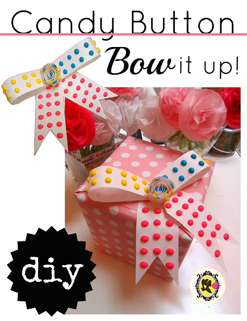 Bow it up with something sweet! Why use ribbon when you can sweeten the deal with a candy button or two?