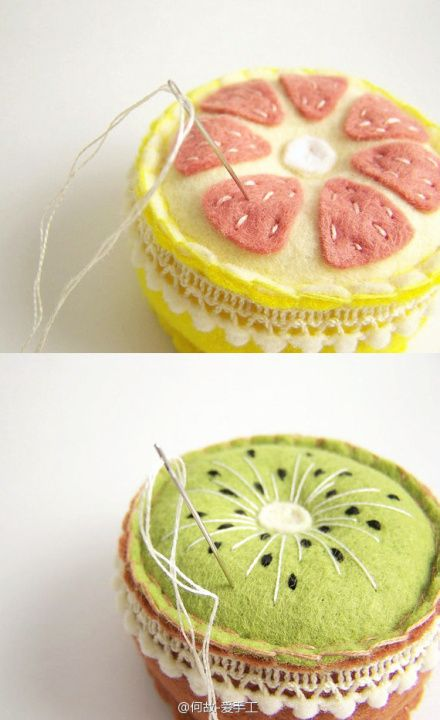 Fruity pin cushions This would be so cute on the top of small Mason jars. Fill jar with a pack of needles, small scissors and a few assorted thread colors. Sweet gift:)