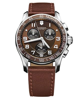 Victorinox Swiss Army Watch, Men's Chronograph Brown Leather Strap 241498