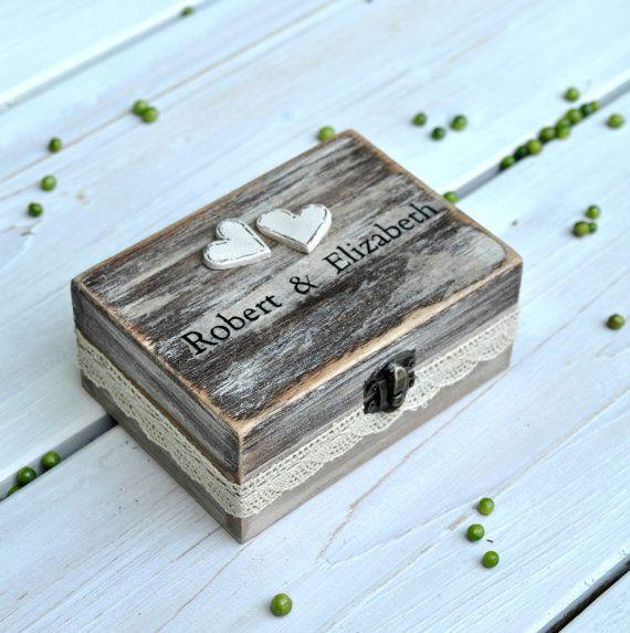 Wedding ring box Rustic ring box Ring pillow box by VarmaLumo