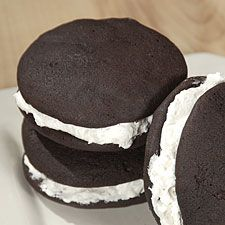 The best whoopie pies. However, I make my filling the following way:  In a small saucepan cook 5 Tbsp flour and 1 cup of milk stir to prevent lumping until a thick paste, cool it and then whip with electric mixer and add 3/4 cup softened butter, 1 cup sugar and 1 teas of vanilla. Beat until very fluffy.