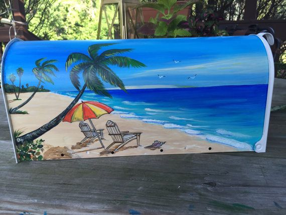 Beach hand painted mailbox Tropical beach for two  by OlenkasArt