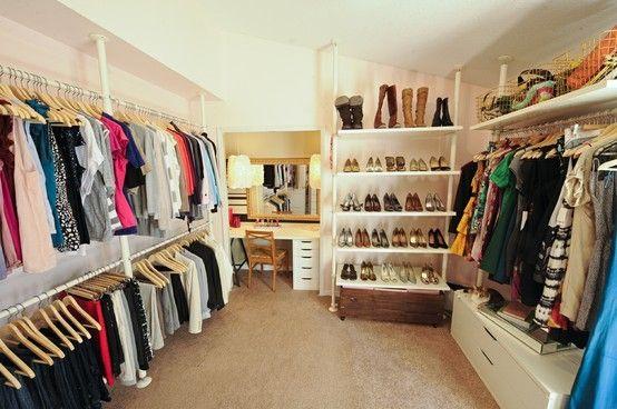Blogger Domestic Jenny's dressing room #closet #dressing_room #kitty #organization #vanity by Leticia M