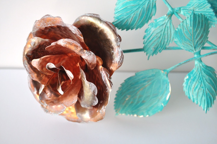 Shabby Chic Copper Flower Metal Sculpture Wall by VintageJulz, $9.50: Copper Flowers, Flowers Metals