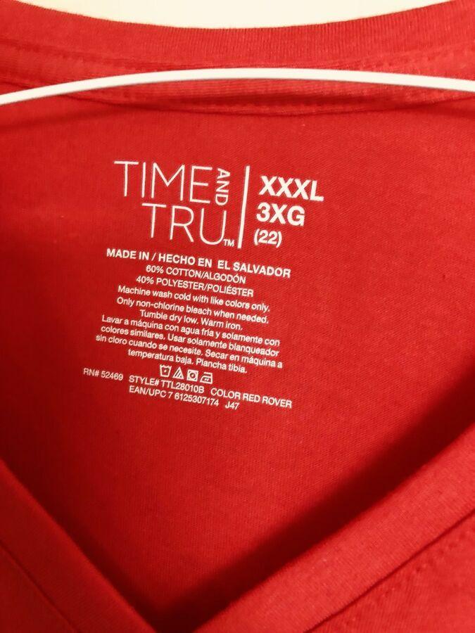 juniors V-neck T-shirt Red Plus 3X Summer NWT#shirt#neck