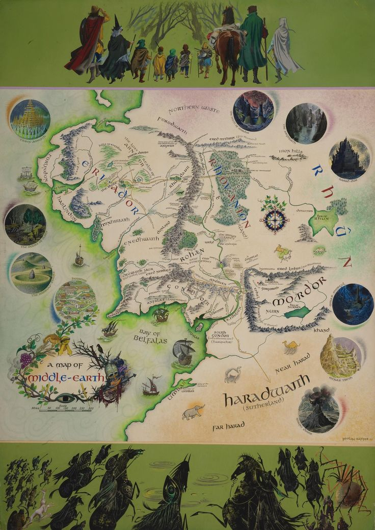 East Middle Earth Map%0A Tolkien annotated map of Middleearth acquired by Bodleian library