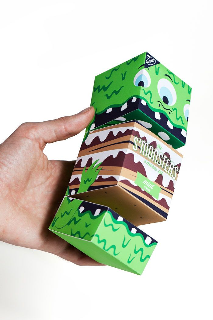 Not sure if this is official or just a student project, but it's a great idea. S'mores for kids, with the chocolate, cracker and marshmallow separated in three sections. Box serves as a hand puppet when the child tells the mad-lib ghost story which is printed on the back of the container.