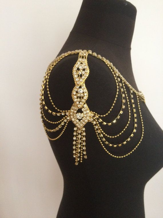 gold crystal shoulder chain, wedding jewelry,gold shoulder chain, crystal necklace