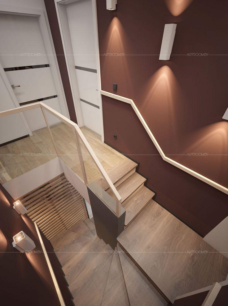 Интерьер частного дома в стиле лофт. Лестница.