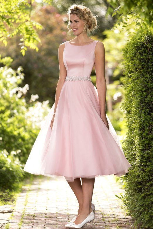 Sleeveless Bateau Neck A-line Tea Length Pink Satin Bodice Tulle Bridesmaid Dress with Crystal Brooch_2