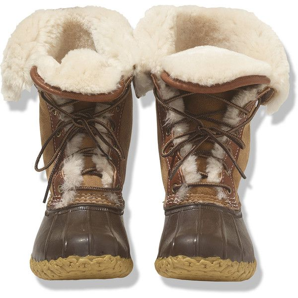 """L.L.Bean Signature Signature Women's Wicked Good L.L.Bean Boots, 10"""" ($229) ❤ liked on Polyvore featuring shoes, boots, water-resistant boots, cuff shoes, fur cuffed boots, chain shoes and fold over boots"""