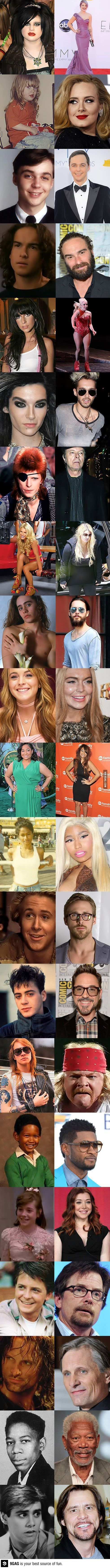Celebrities change over time ..... People who are obsessed with staying young need to see this.