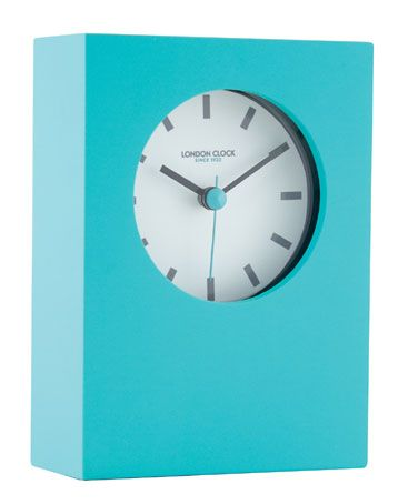 TEAL BLUE RUBBERISED MANTEL CLOCK WITH BLACK RIM