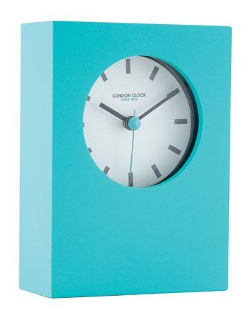 TEAL BLUE RUBBERISED MANTEL CLOCK WITH BLACK RIM