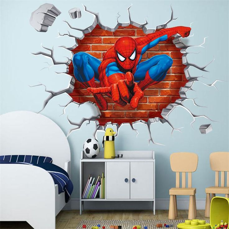 % 45*50cm hot 3d hole famous cartoon movie spiderman wall stickers for kids rooms boys gifts through wall decals home decor art #Affiliate