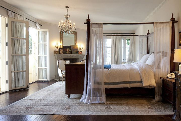 Floral designer Stephanie Schur's romantic master bedroom with Persian rug.