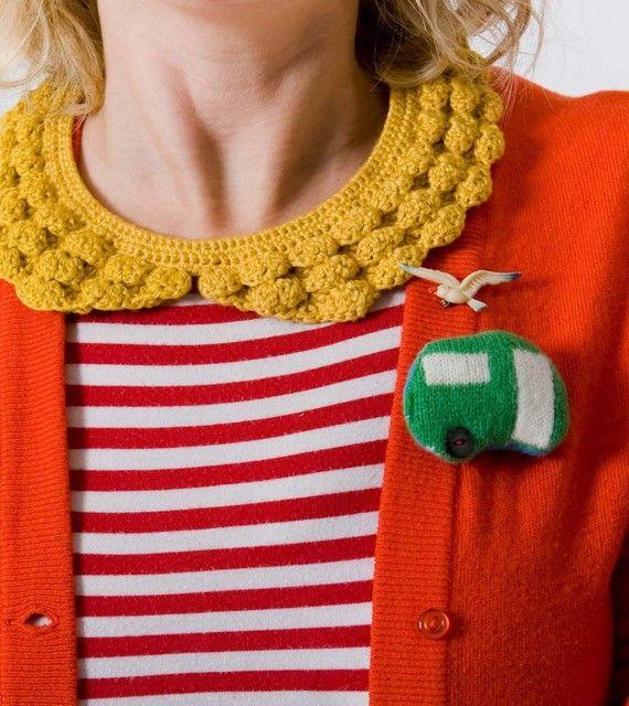 elsy & vine on etsy. caravan brooch. & that collar!