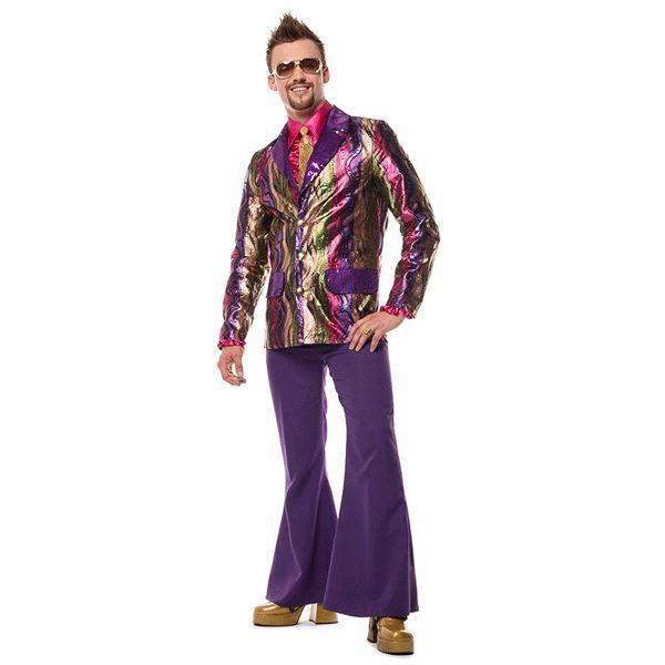 Paarse wijd uitlopende verkleedbroek voor heren. Leuke paarse lange broek die hoog op de heupen valt en wijd uitloopt. Perfecte broek om uw paarse outfit helemaal af te maken.