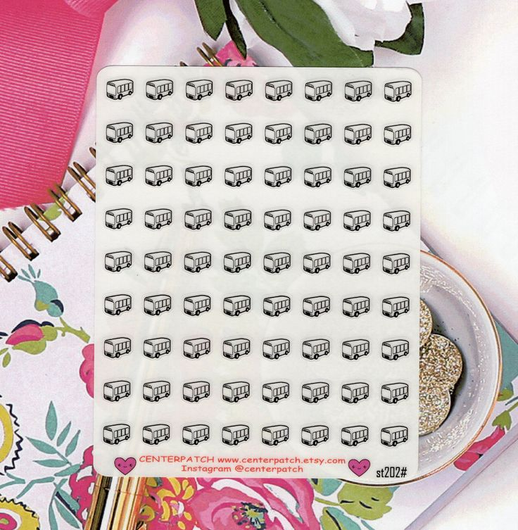 CLEAR Planner Stickers, Bus Planner Stickers, Erin Condren Planner Stickers, Happy Planner Stickers, Transparent Stickers (st202#) by CENTERPATCH on Etsy