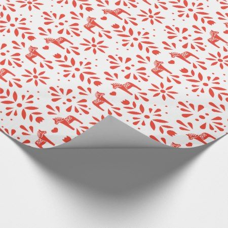Red Swedish Dala Horse White Holiday Gift Wrap - tap to personalize and get yours  #christmas #holidays #wrappingpaper #giftwrapping #pattern #patterns
