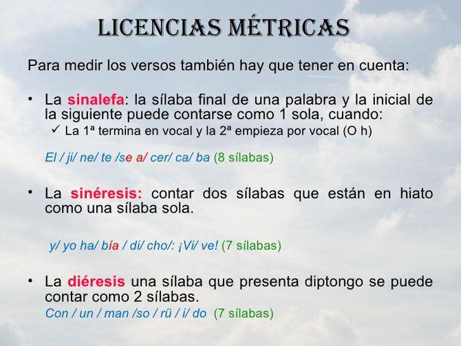 Ejemplos De Licencias Métricas Lectura Y Escritura
