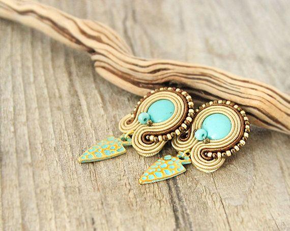 Brown turquoise stud earrings arrow turquoise earrings stud