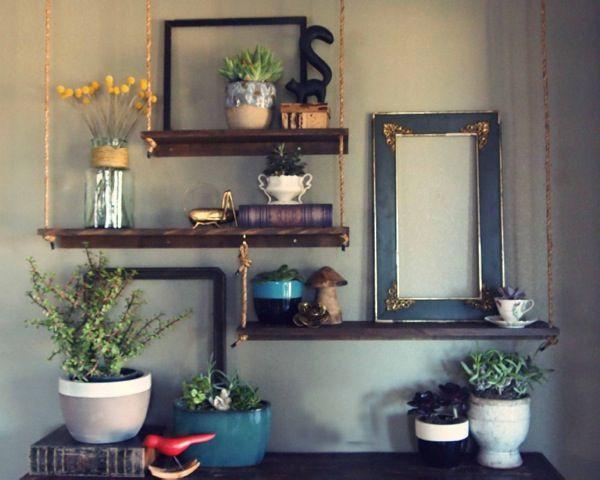 repurposed studio hanging shelves: Decor Ideas, Repurpo Studios, Hanging Shelves, Empty Frames, Barns Boards, Earth Day, Interiors Decor, Studios Hanging, Ropes Shelves