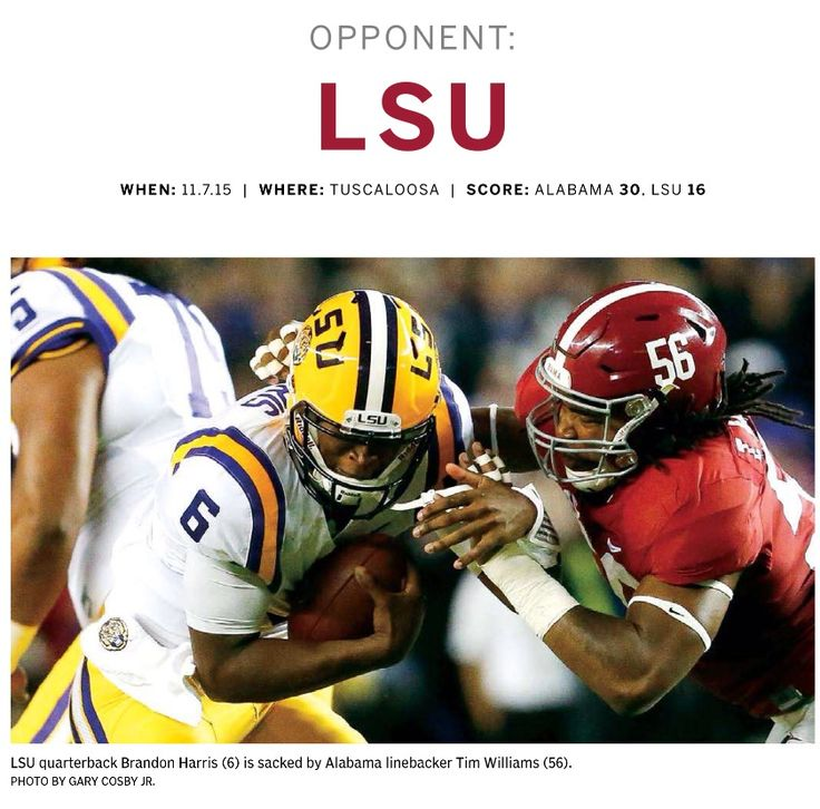 Bama's Tim Williams (56) sacks LSU's Brandon Harris. Tide 30, Tigers 16 - 2015