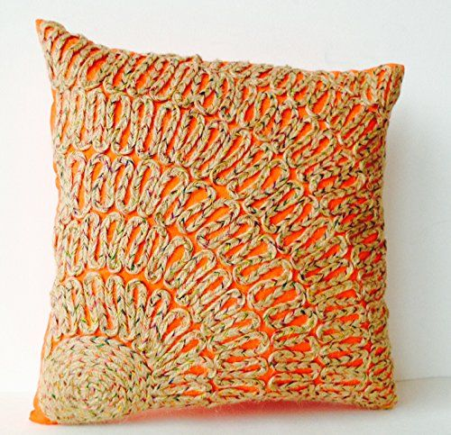 Throw Pillow Covers - Orange Pillow Cases with Tan Burlap Dori Embroidery - Burlap Embroidered Orange Silk Toss Pillow Covers - Decorative Pillows - Accent Pillow Covers in Orange - Gift for Holidays, Wedding, Anniversary, Housewarming (18x18) Amore Beaute http://smile.amazon.com/dp/B00O32GA78/ref=cm_sw_r_pi_dp_6MX4vb1K5BAYQ