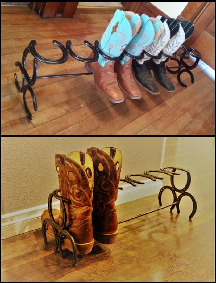 How to build a boot rack from horseshoes Storage ideas Boot rack