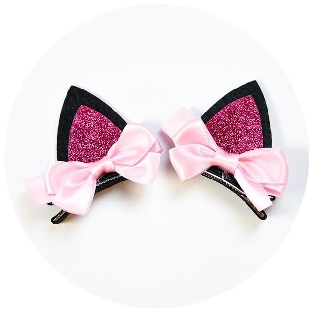 1pair Stereo Double Cat Ear Clip with Sequin Ears Baby Hair Clips Lovely Hairpin