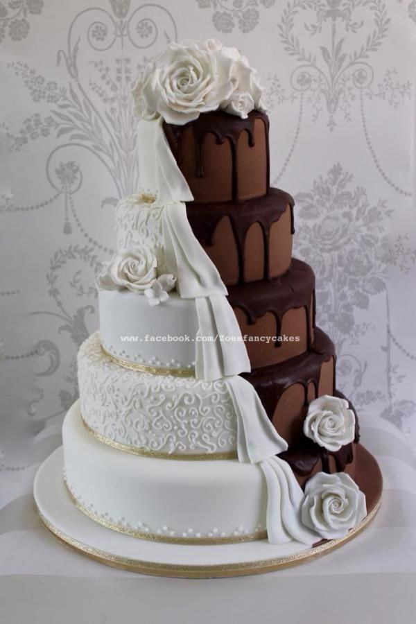 Dripping chocolate wedding cake half and half - Cake by Zoe's Fancy Cakes