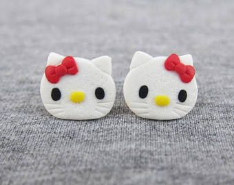Hello Kitty Earrings, Hello Kitty Outfit, White Cat Earrings, Cute Earrings, Kawaii Earrings, Small Girls Earrings, Polymer Clay Earrings