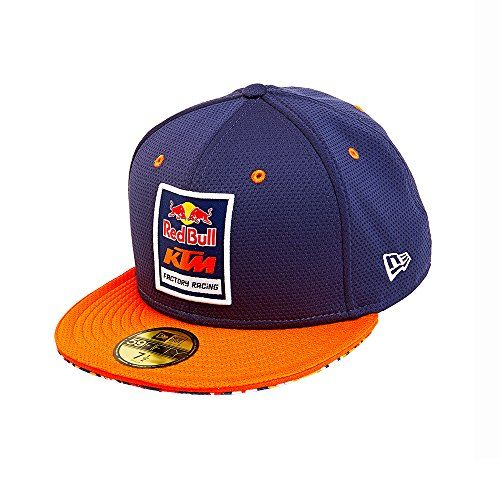 """Red Bull KTM Factory Racing Mesh Fitted Hat  New Era 59FIFTY fitted style  Red Bull KTM Factory Racing patch on the front  Red Bull """"Gives You Wings"""" slogan embroidered on back  Navy, orange, and white spikes pattern under brim"""